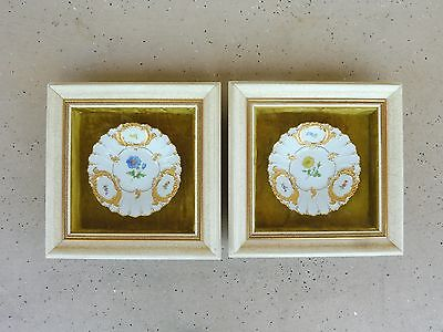 Two 9 Inch Diameter Antique Meissen Floral Decorator Plates In Individual Frames