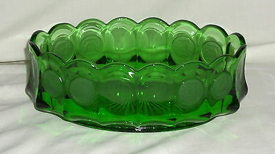 "Fostoria COIN FROSTED EMERALD GREEN *8 3/4"" OVAL BOWL*"