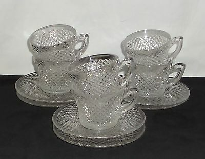 6 Westmoreland ENGLISH HOBNAIL CRYSTAL *CUPS & SAUCERS*