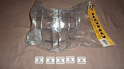 NEW Certified Koho Hockey Goalie Mask Helmet Chrome Cage Senior Adult and 5 Clip