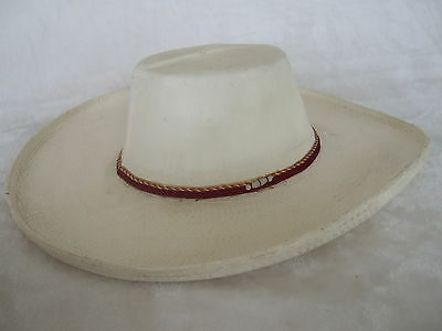 Vintage White Painted Palm Fiber Western Mexican hat