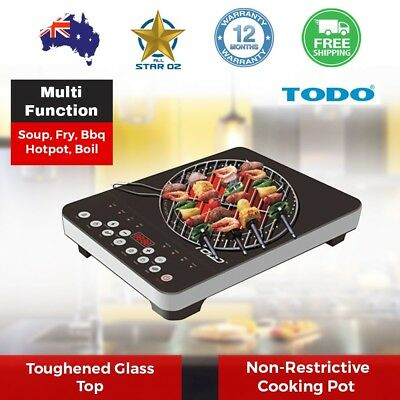 Hot Plate with Grill BBQ Hotplate Electric Cooker Cooktop Digital Timer infrared