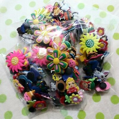 40 Girls Shoe Charms - PLUS 5 FREE Bracelets - Crocs Holey Shoes - Cake Toppers