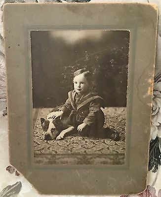 Very Old Photograph Child w/ Pit Bull Terrier Dog