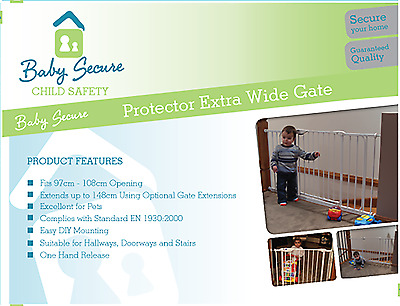 NEW PROTECTOR Extra Wide Baby Gate - White (Suits openings 97-108 cm) 2128