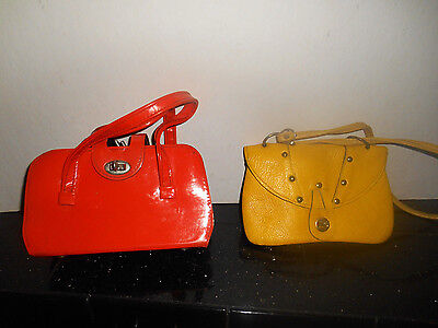 Two Vintage Child's Purses 60's Rau F Co.& Orange Vinyl (yellow is dyed leather)