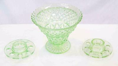 Vintage Green Uranium Glass Vase with 2 x Flower Dividers #12038