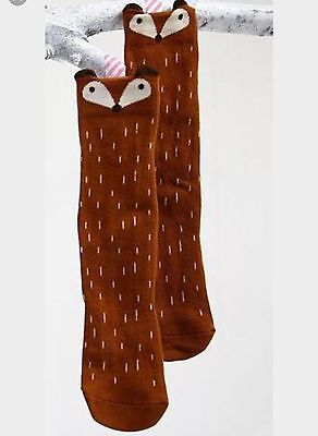 Cute Baby Toddlers Fox Girls Knee High Long Brown Socks Size 0-1 Year