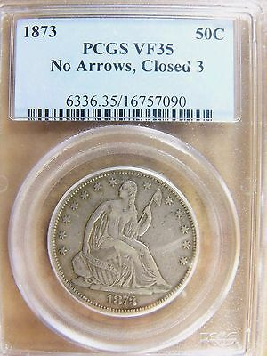 1873 Seated Liberty Half Dollar No Arrows Closed 3 PCGS VF 35 Cert# 16757090