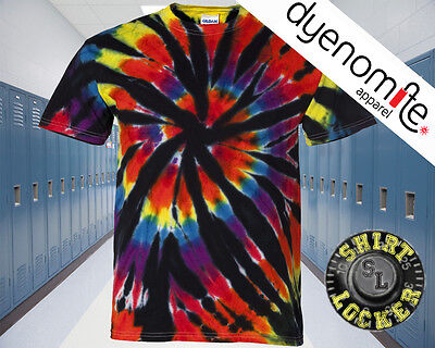 a84e4cd987eb CHEAP Short Sleeve Rainbow Cut-Spiral Tie Dye Tee Shirt Black Rainbow -  200TD
