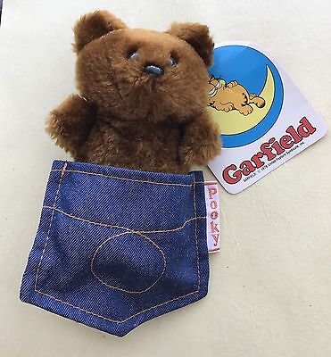 "1983- 6"" POOKY BEAR in Denim Pocket w/ Tags Garfield Friend Toy 80's Fun Farm"