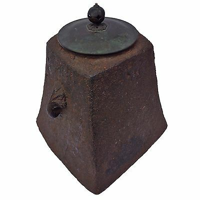 Antique Japanese Square Tetsubin Cast Iron Tea Pot Kettle Bronze Lid Wow L@@k