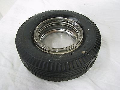 Vintage FIRESTONE TIRE ASHTRAY with Glass Insert that reads Firestone