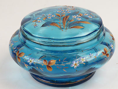 Antique Blue Crystal Glass Vanity Powder Jar Lidded Dresser Gold Enamel Paneled