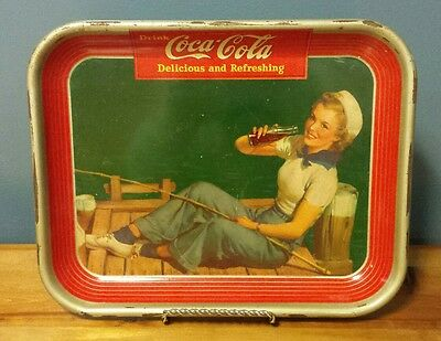 Vintage 1940 Coca-Cola Coke Sailor Girl Fishing on Dock Serving Tray - Very Good