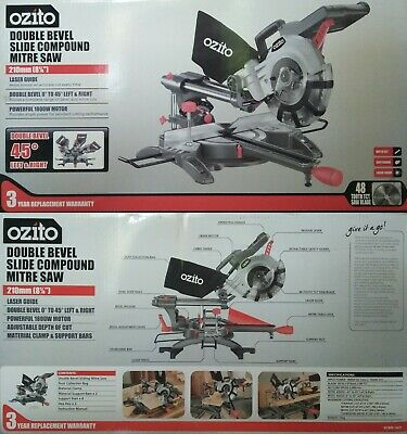 "Ozito 210mm (8¼"") 1800w Compound Sliding Mitre Saw Laser Guide - 3YR Warranty"