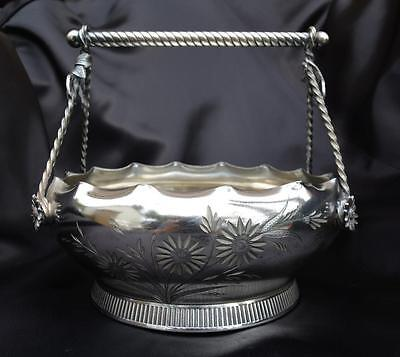 1890's Antique Victorian Quadruple Silverplate Handled Bridal Basket Bowl Silver