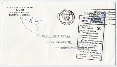 1967 Return to Sender - double cancel - Hamilton, ON