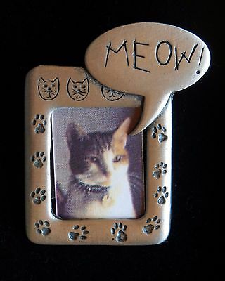 Vintage JJ Jonette Pewter Brooch Jewelry Meow Kitty Cat Photo Frame Pin New in B