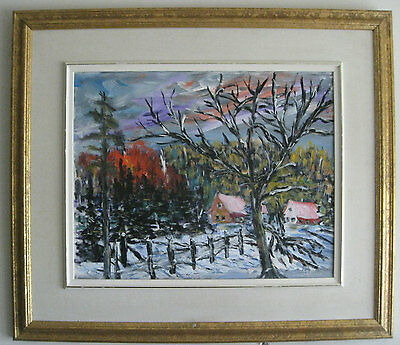 Vintage Oil Painting, Quebec winter scene, signed with frame 16 x 20