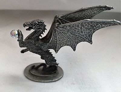 Ral Partha PP277 Miniature Pewter Winged  Dragon with Crystal Ball