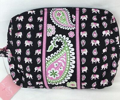 NWT Vera Bradley Travel Large Cosmetic Bag In PINK ELEPHANTS Ships Free