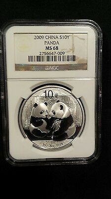 2009 NGC MS68 China Silver Panda 10Y 1 oz .9999 Silver