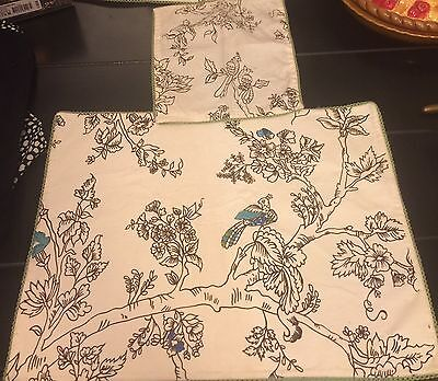 NWOT Anthropologie Peacock Placemat And Napkin Set Of 4
