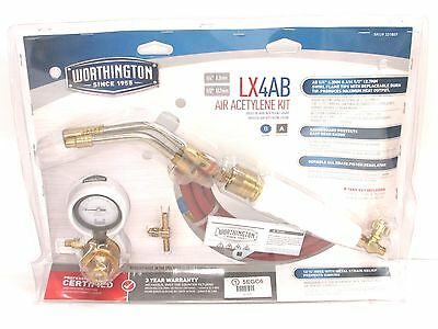 New! Worthington Air Acetylene Torch Kit, (2) Tips, Hose & Regulator, 331807
