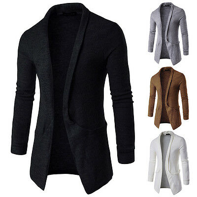 Luxury Men's Casual Slim Fit Long Sleeve Knitted Cardigan Pocket Trench Coat