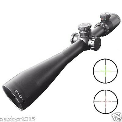 10-40x50 Long Range Red Green Cross Reticle Tactical Rifle Scope w 20mm Mounts