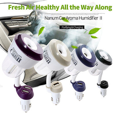 Car Humidifier Essential Oil Diffuser Dual USB Charger Ultrasonic Aroma Mist USA
