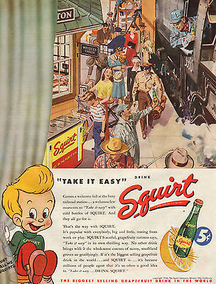 """1946 Squirt Soda Drink Ad -""""Take It Easy""""----t292"""