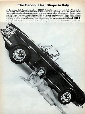 1965 Fiat 1500 Spider -car ad -Second Best shape in Italy ---0-144