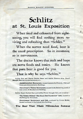 1904 Schlitz beer ad -At The St. Louis Exposition-  4 locations at Expo---p-262