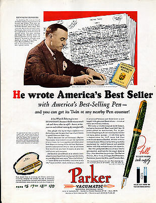 """1938 Parker Pen ad --Vacumatic Pen -Endorsed by Kenneth Roberts """"NW Passage'=523"""