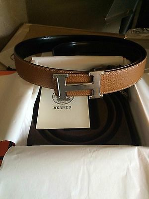 Mens Brown Hermes Belt Leather With Silver H Buckle 95cm