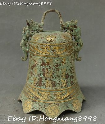 """11"""" Rare China Dynasty Bronze Ware Vessels Dragon Loong Beast Zhong Bell Statue"""