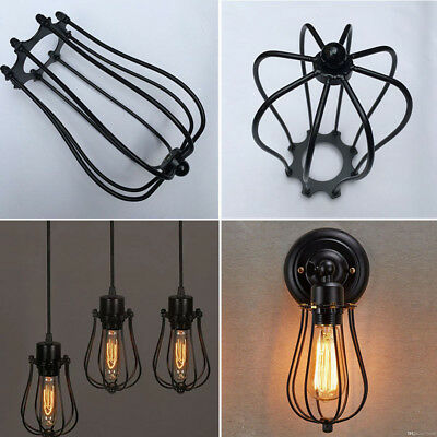 Retro Antique Brass Iron Wire Bulb Cage Lamp Guard Shade Vintage Trouble Light