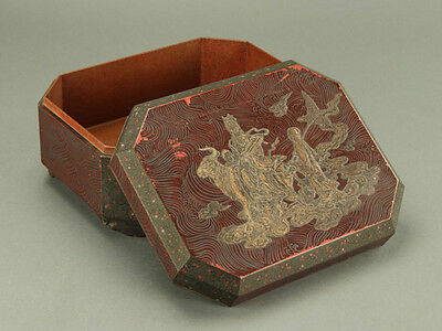 Chinese Lacquerware Lidded Container ZONSEI Decorated w/ Heavenly Maiden: IR952