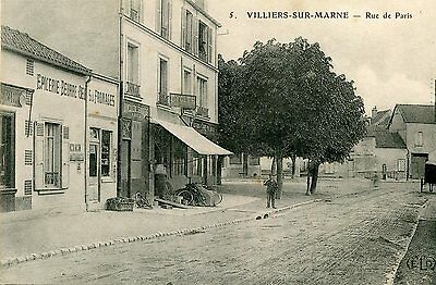 Carte Postale VILLIERS SUR MARNE Rue de Paris Magasin Cycles dont location