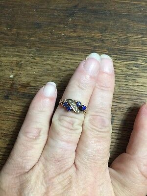 Antique Vintage Victorian 9c 10k Yellow Gold Ring Sapphire Seed Pearls Small Siz