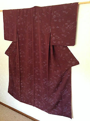 Japanese Woven Floral Silk Kimono Hand Made One of a Kind Vintage Costume Robe