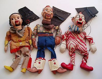Lot 3 Vintage 1950s Howdy Doody TV Marionettes Puppets Howdy Princess Clarabell