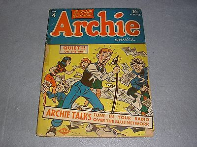 RARE Archie Comics No 4 Sept-Oct 1943 1st First Edition COMPLETE FAIR CONDITION