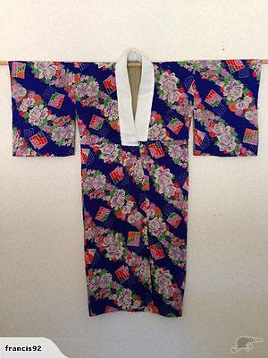 Antique Old Japanese Kimono Bright Floral print One of a Kind Vintage