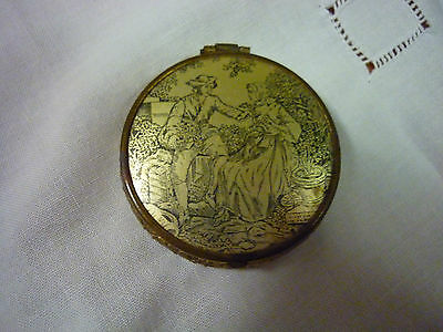 Vintage Coty Airspun Miniature Gold Tone Metal Rouge/Powder/Mirror Compact