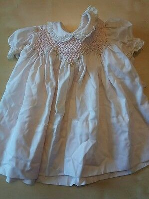 Polly Flinders Hand Smocked Baby Doll Dress Embroidered Flowers Vintage SZ 24 Mo
