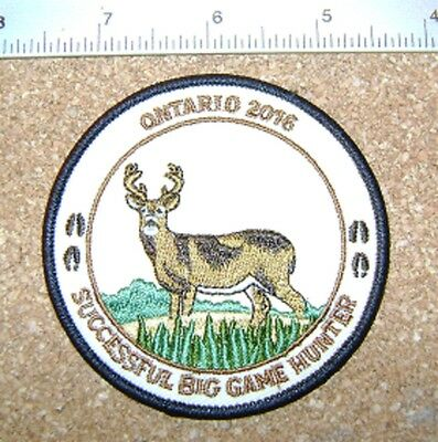 Ontario 2016 Successful Big Game Hunter Patch,mnr, Moose,deer,bear,elk,hunting