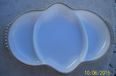 Vintage Anchor Hocking Fire King Milk Glass Divided Oval Dish